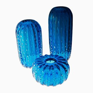 Aquamarine Murano Glass Vases, 1980s, Set of 3