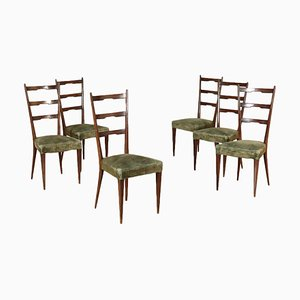 Vintage Italian Beech and Velvet Dining Chairs, 1950s, Set of 6