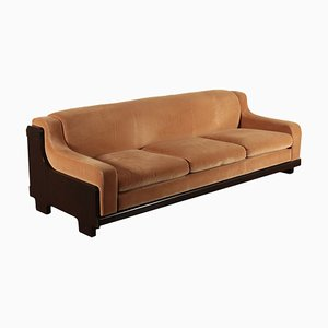 Rosewood Veneer and Velvet Sofa, 1970s