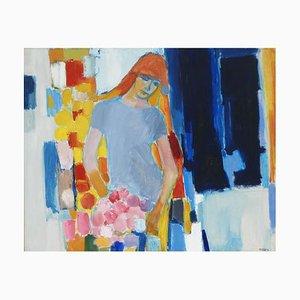 Dipinto di una giovane donna di TARIS, anni '60
