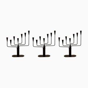 Candeleros de metal de Gunnar Ander para Ystad-Metall, años 60. Juego de 3