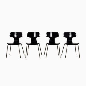 Mid-Century Model 3103 Hammer Chairs by Arne Jacobsen for Fritz Hansen, Set of 4