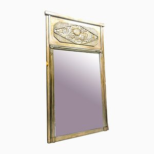 Vintage Art Deco French Silvered Wood Mirror