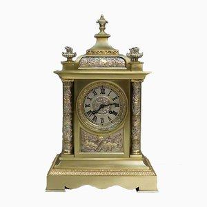 Antike französische Kaminuhr aus versilbertem & vergoldetem Messing, 1900er