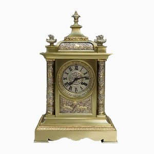 Antique French Silvered and Gilt Brass Mantel Clock, 1900s