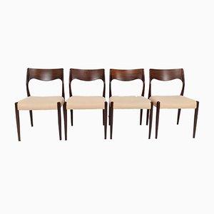 Dänische Mid-Century Modell 71 Esszimmerstühle aus Palisander von Niels Otto Møller für J.L. Moller, 1960er, 4er Set