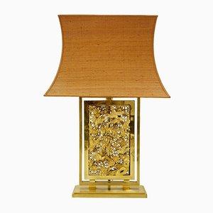 Lampe de Bureau Vintage en Bois Sculpté et en Laiton Doré