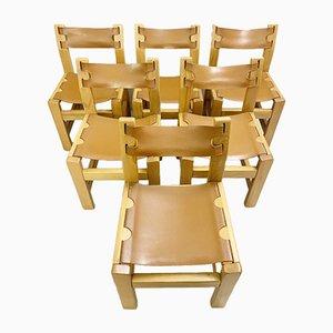 Chaises d'Appoint en Orme et Cuir, années 60, Set de 6