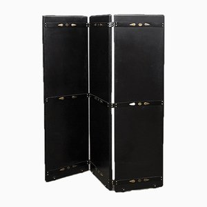 Mid-Century Leather and Brass Room Divider by Jacques Adnet, 1950s