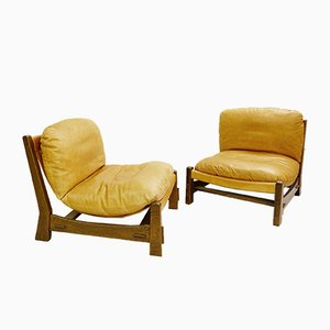 Vintage Canvas and Leather Armchairs, Set of 2