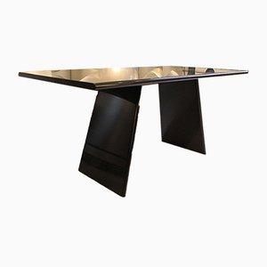 Mesa de comedor italiana de granito negro de Angelo Mangiarotti para Asolo, años 80