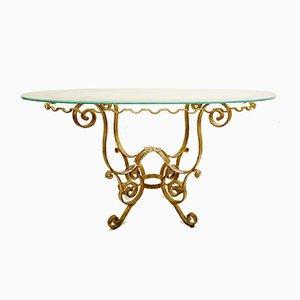 Juego de mesa de comedor y sillas Mid-Century de hierro forjado dorado