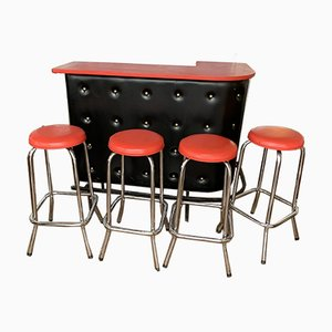 Vintage Bar Table and Stools Set, 1970s