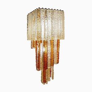 Lámpara de araña vintage cascada de cristal de Murano de Paolo Venini