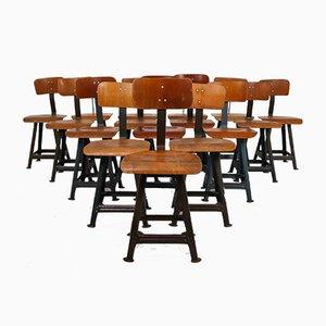 Chaises Industrielles par Robert Wagner pour Rowac, années 50, Set de 16