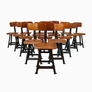 Industrial Chairs by Robert Wagner for Rowac, 1950s, Set of 16