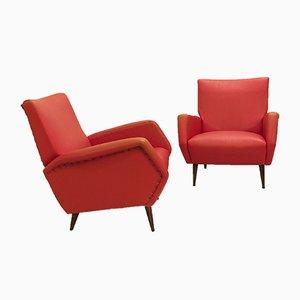 Butacas de cuero sintético rojo de Gio Ponti, años 50. Juego de 2