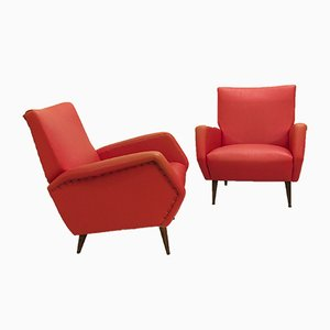 Red Faux Leather Armchairs by Gio Ponti, 1950s, Set of 2