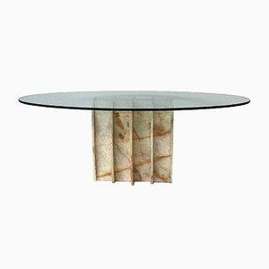 Mesa de comedor vintage ovalada de vidrio y mármol