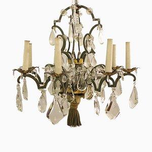 Lámpara de araña de cristal y bronce, siglo XIX
