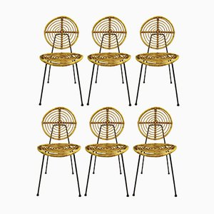 Rattan and Black Metal Model CM 166 Side Chairs from Thonet, 1950s, Set of 6