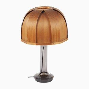 Lámpara de mesa sueca de vidrio y madera laminada de Pileprodukter Landskrona, años 60