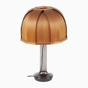 Swedish Glass and Laminated Wood Table Lamp from Pileprodukter Landskrona, 1960s