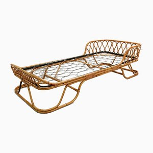Vintage Rattan and Bamboo Single Bed