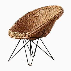 Mid-Century Rattan Lounge Chair by Teun Velthuizen for Urotan, 1950s