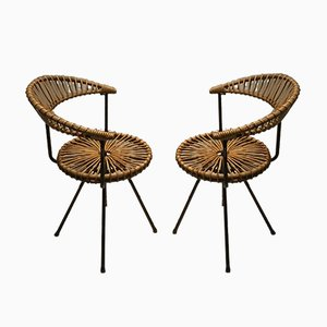 Mid-Century Rattan Armchairs by Dirk van Sliedregt for Rohé Noordwolde, Set of 2