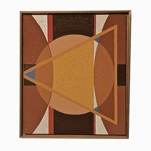 Peinture Composition Abstraite Jaune par Denyse Fréson, années 90