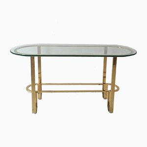 American Gold Metal and Glass Console Table, 1970s