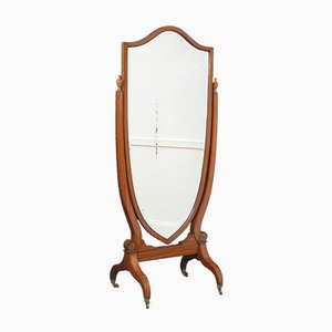 Antique Edwardian Inlaid Satinwood Mirror