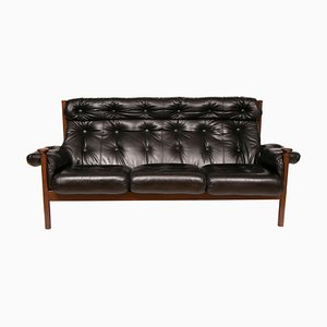 Black Leather Sofa from Guy Rogers, 1960s