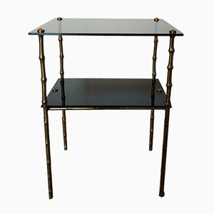 Mid-Century Bronze and Glass Side Table, 1950s