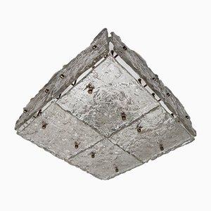 Lámpara de techo grande de cristal de hielo de Kalmar, años 60
