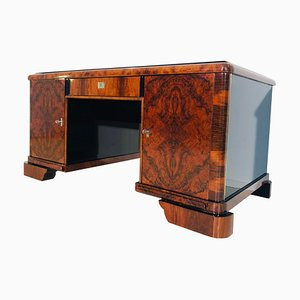 Art Deco Burl Walnut Desk, 1930s