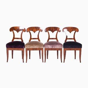 19th Century Biedermeier Austrian Walnut Desk Chairs, Set of 4