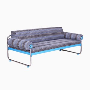 Bauhaus German Blue Tubular Chrome Sofa, 1920s
