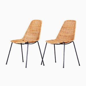 Mid-Century Scandinavian Rattan and Metal Desk Chairs, 1960s, Set of 2