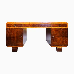 Art Deco Polish Rosewood Veneer Desk, 1930s