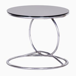 Small Bauhaus Chrome and Black Glass Round Side Table, 1950s