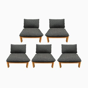 Scandinavian Modern Oak Lounge Chairs, 1960s, Set of 5