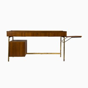 Scandinavian Modern Oak Brass and Rosewood Desk, 1950s