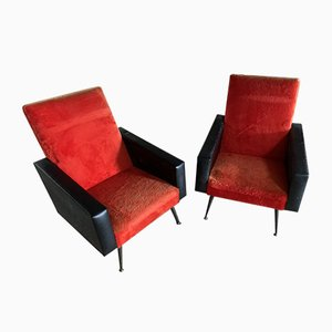 Mid-Century Red and Black Lounge Chairs, Set of 2