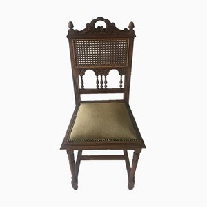 German Oak, Rattan, and Velour Desk Chair, 1930s
