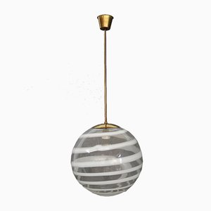 Brass and Glass Pendant Lamp by Carlo Scarpa for Venini, 1950s