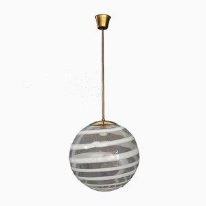 Lámpara colgante de latón y vidrio de Carlo Scarpa para Venini, años 50