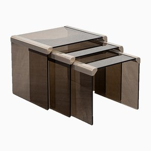 Smoked Glass & Stainless Steel Nesting Tables, 1970s