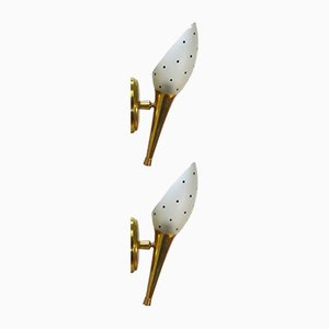 Mid-Century Brass and Glass Sconces, Set of 2